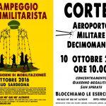 Secondo campeggio antimilitarista della Rete No Basi né Qui né Altrove – 6/10 ottobre 2016 + corteo 10 ottobre aeroporto di Decimomannu